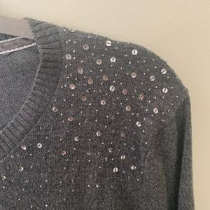 Central Park West Grey Cardigan with Beading